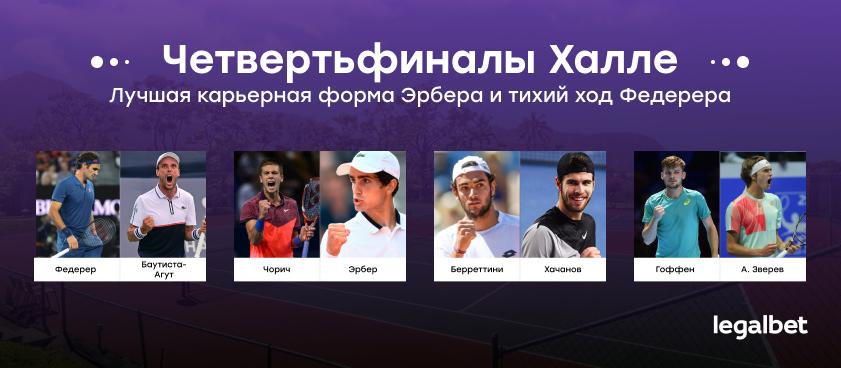 Халле четвертьфиналы: Лучшая карьерная форма Эрбера и тихий ход Федерера