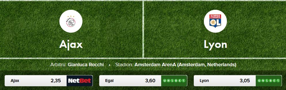 Ponturi pariuri, Europa League: Ajax - Lyon