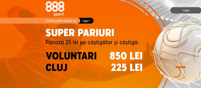 Ia-ţi cotele incitante de la 888 Sport din meciul FC Voluntari - CFR Cluj