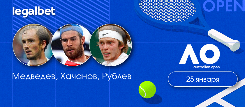 Медведев, Хачанов и Рублёв вышли в третий круг Australian Open 2020