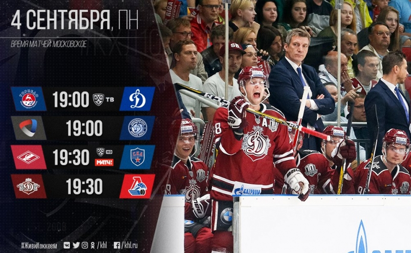 Хоккей. КХЛ. Динамо Рига - Локомотив, Спартак - СКА