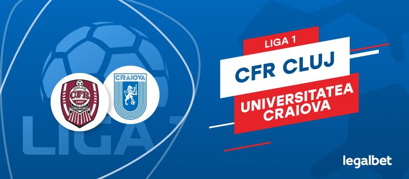 CFR Cluj - Universitatea Craiova: cote la pariuri si statistici
