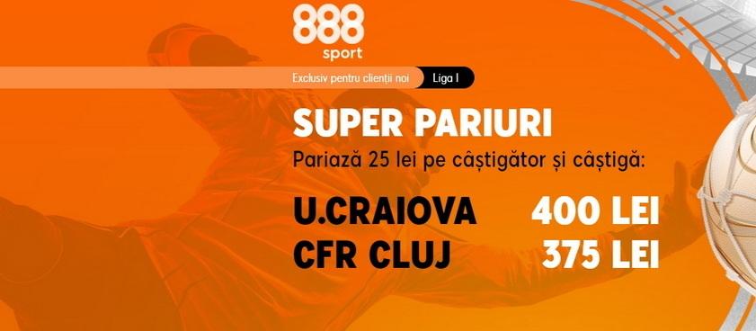 """Ai cote """"beton"""" doar la 888 Sport pentru meciul etapei din Liga 1, U Craiova - CFR Cluj"""