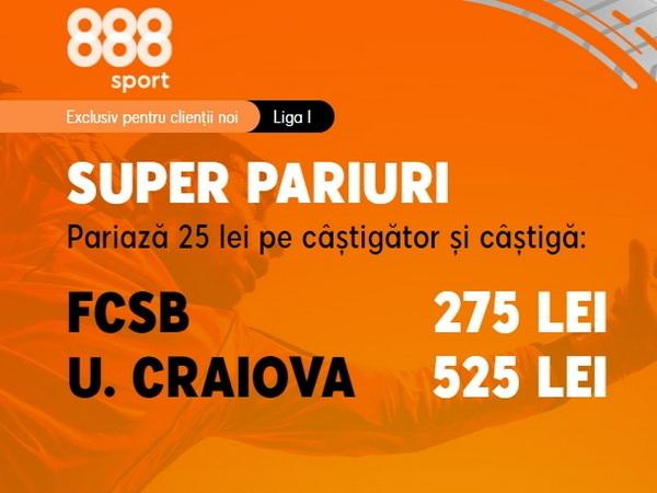 legalbet.ro: FCSB - Universitatea Craiova, un meci cu orgolii mari şi cote pe măsură.