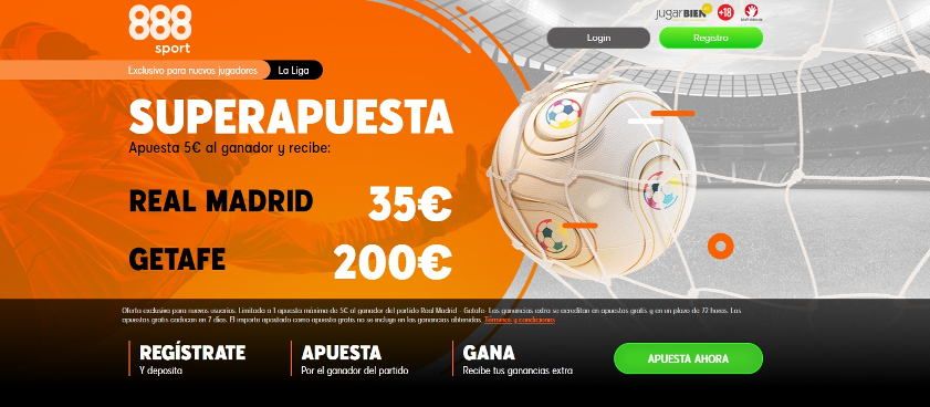 Supercuota Real Madrid vs Getafe. Promoción exclusiva 888Sport