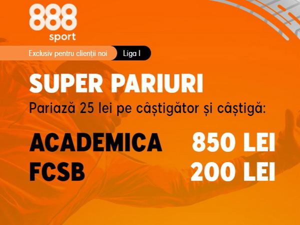 legalbet.ro: 888 Sport are o nouă promoţie atractivă pentru un meci din Liga 1.