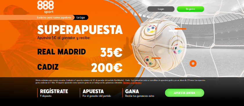 Promoción exclusiva 888Sport: Supercuota Real Madrid - Cádiz