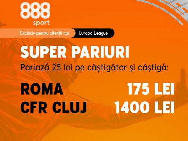 legalbet.ro: CFR Cluj are cota 56.00 pentru o victorie la Roma! Profită acum de cota gigantică oferită de 888 Sport.