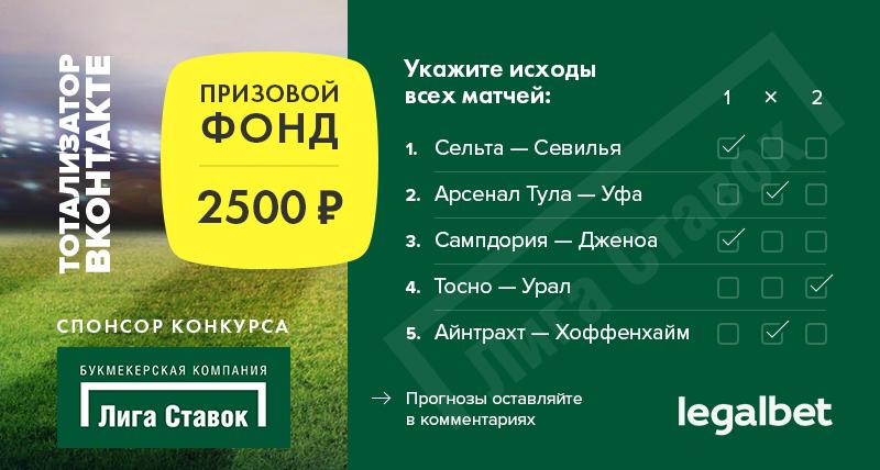 Разыгрываем 2 500 рублей в бесплатном тотализаторе во ВКонтакте!