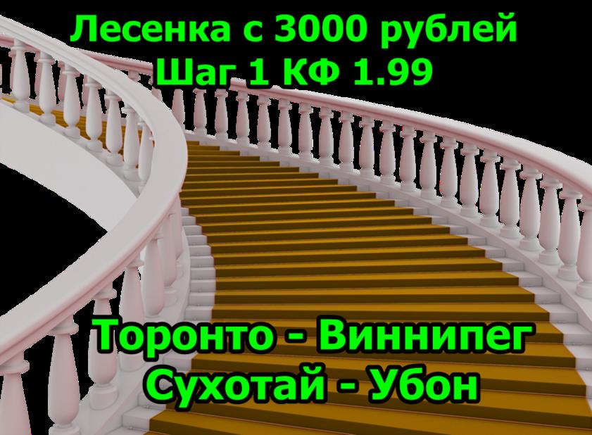 Лесенка с 3000 рублей №8 Шаг 1 Торонто Виннипег Прогноз