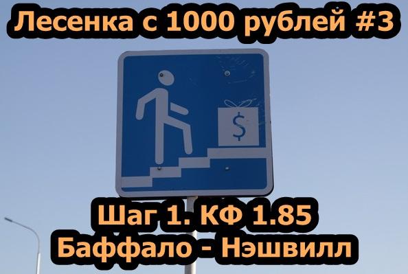 Лесенка с 1000 рублей #3. Шаг1. Баффало - Нэшвил Прогноз