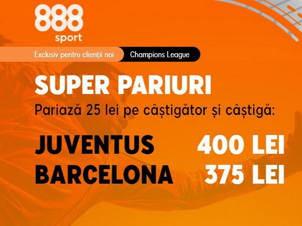 legalbet.ro: Ai cote mărite la 888 Sport pentru meciul de 6 stele din Liga Campionilor, Juve - Barça.