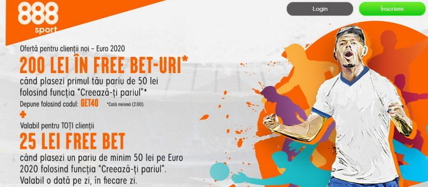 Ofertă pentru clienţii noi - EURO 2020, câştigă 200 lei în Free Bet-uri