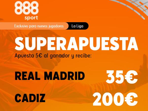 Legalbet.es: Promoción exclusiva 888Sport: Supercuota Real Madrid - Cádiz.