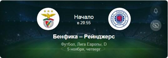 Прогноз на матч Бенфика - Рейнджерс