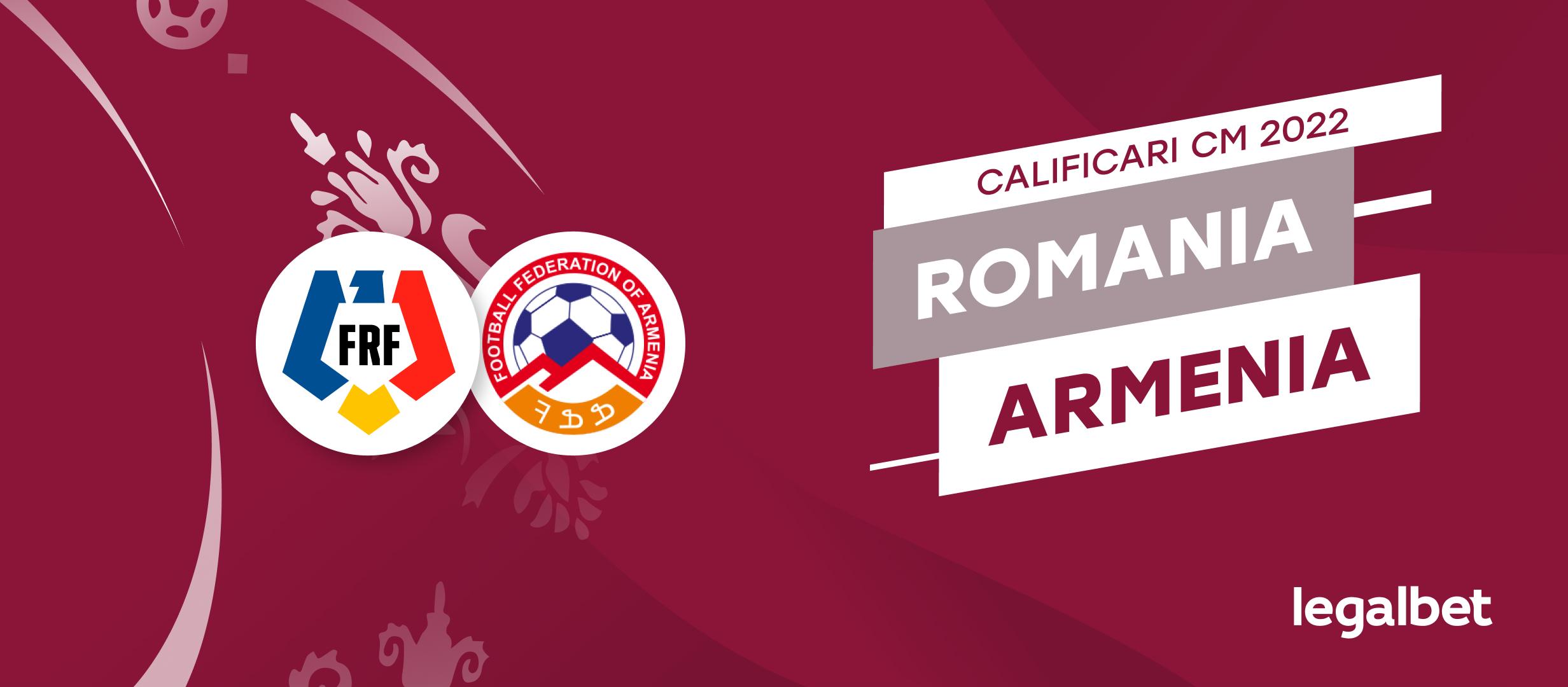 Romania - Armenia: cote la pariuri si statistici
