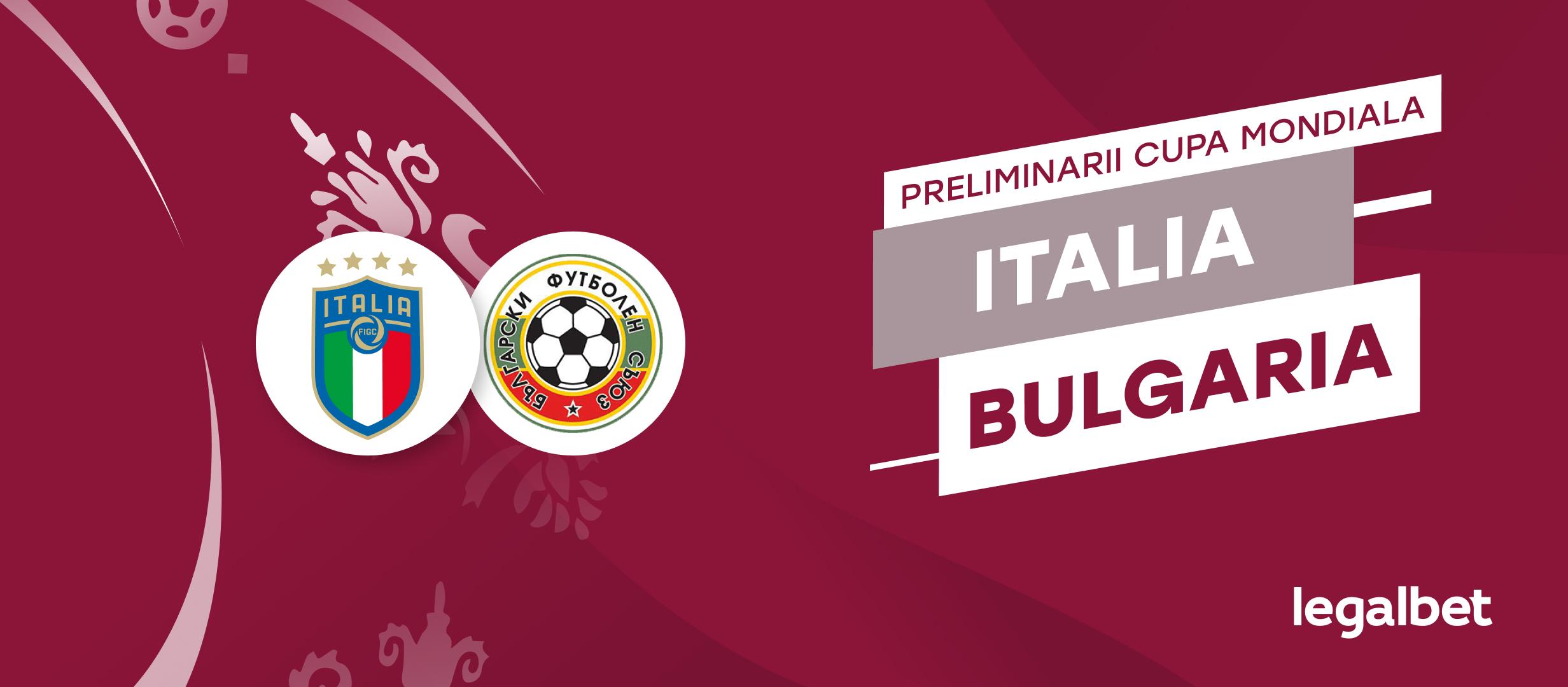 Italia - Bulgaria,  cote la pariuri, ponturi şi informaţii