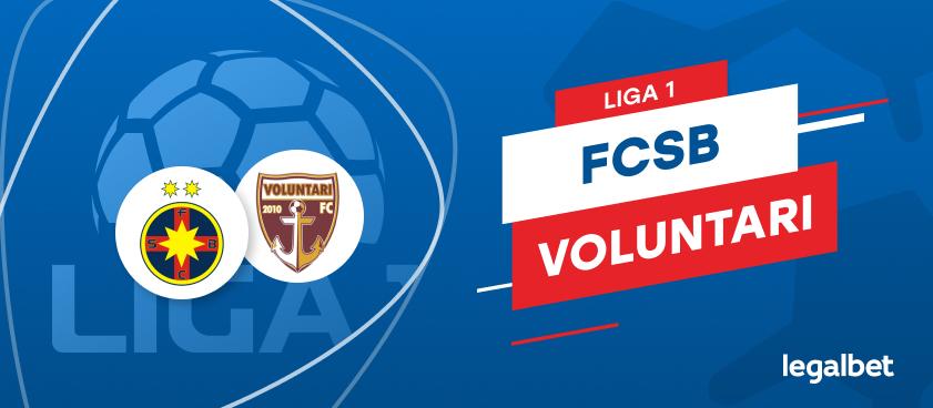 FCSB - FC Voluntari: cote la pariuri şi statistici