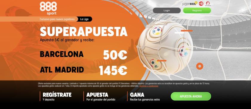 Exclusivo 888Sport: Barcelona a cuota 10.0 y Atlético de Madrid a cuota 26.0