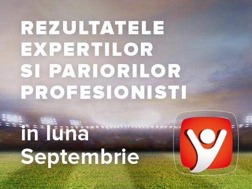 Rezultatele expertilor si profesionistilor Intelbet obtinute in luna Septembrie