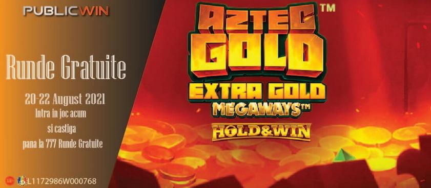 Doar la PublicWin poţi câştiga 777 Extra Runde Gratuite la Aztec Gold Extra Gold Megaways!