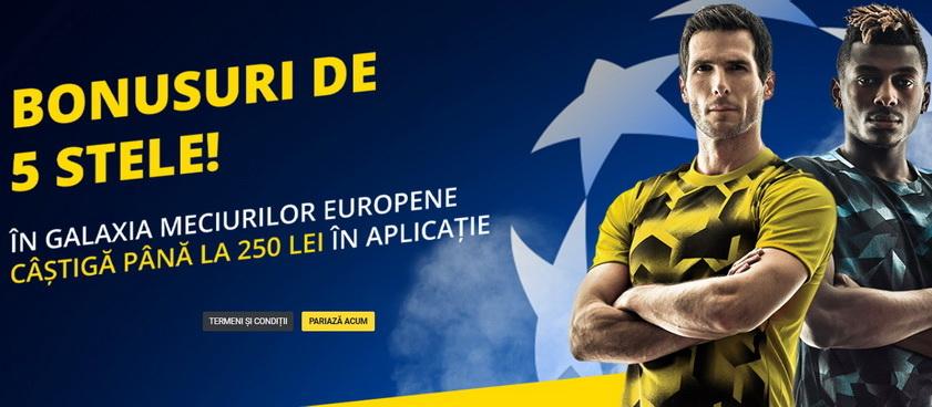 Profită de BONUSURI de 5 STELE pentru meciurile din Liga Campionilor şi Europa League