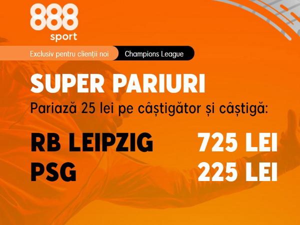 legalbet.ro: Ai parte de o cotă magnifică dacă mizezi pe RB Leipzig şi PSG.