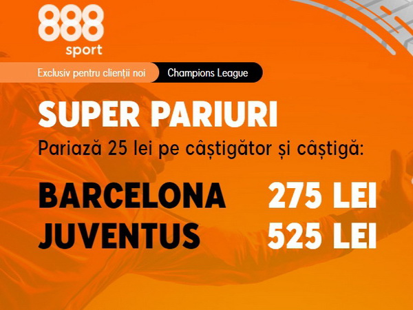legalbet.ro: Ia-ţi cotele incitante din meciul Barça - Juve! Cine va câştiga, Messi sau Ronaldo?.