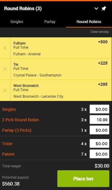 sport spread betting calculator round robin