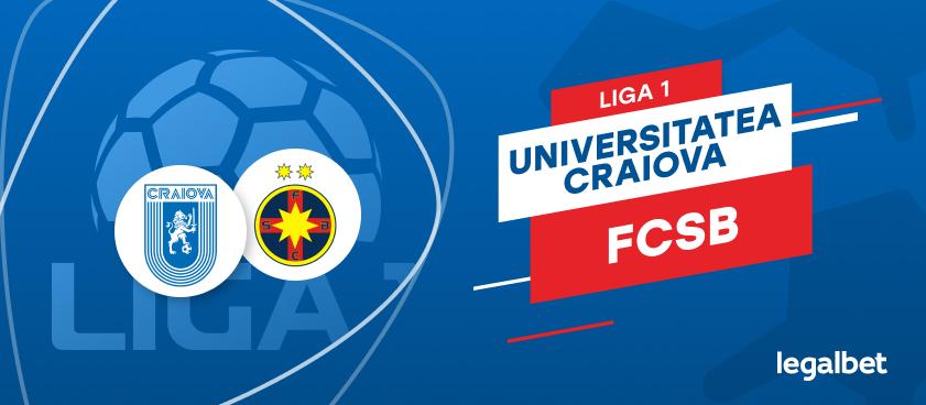 U Craiova - FCSB: cote la pariuri şi statistici