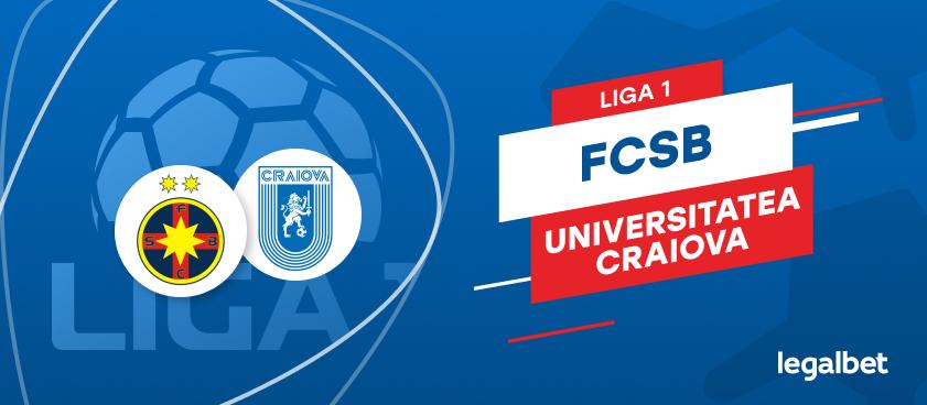 FCSB - Universitatea Craiova: cote la pariuri şi statistici