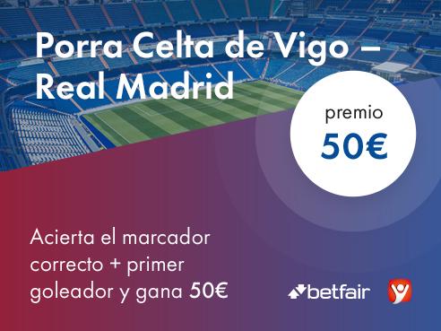 """Concurso """"La Porra de Intelbet"""". Celta de Vigo - Real Madrid; ¡50€ de premio!"""