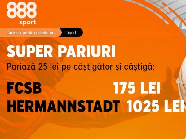 legalbet.ro: FCSB are 4 victorii în 4 meciuri jucate cu FC Hermannstadt în Liga 1.