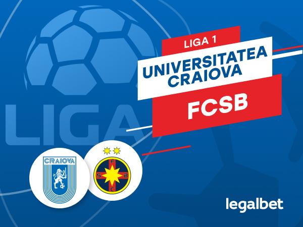 Karbacher: U Craiova - FCSB: cote la pariuri şi statistici.