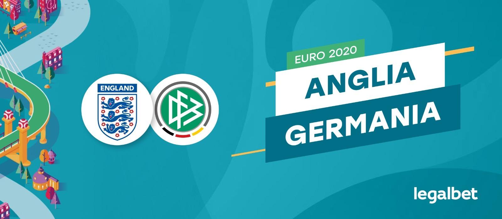 Anglia - Germania, în optimile EURO 2020. Ponturi pariuri și cele mai importante informații