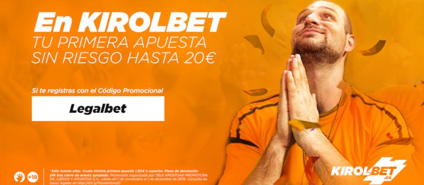Nueva promoción exclusiva Kirobet - Legalbet. ¡20€ GRATIS!