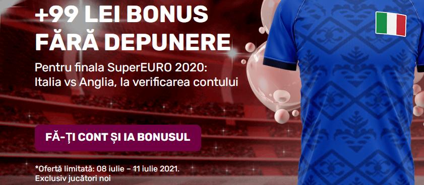 Superbonus Superbet: 99 de lei la finala Anglia - Italia