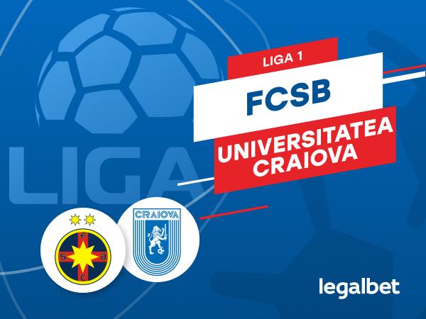 Karbacher: FCSB - Universitatea Craiova: cote la pariuri şi statistici.