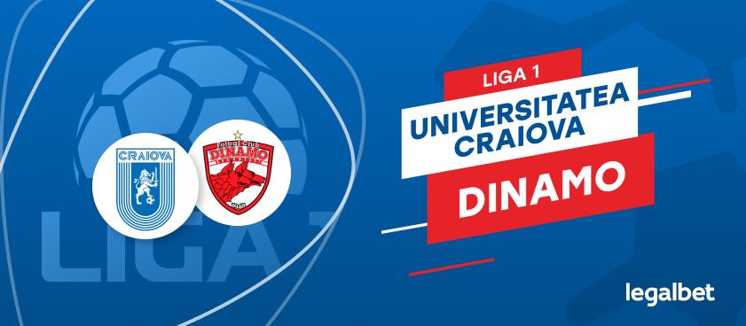 Universitatea Craiova - Dinamo Bucureşti: cote la pariuri şi statistici