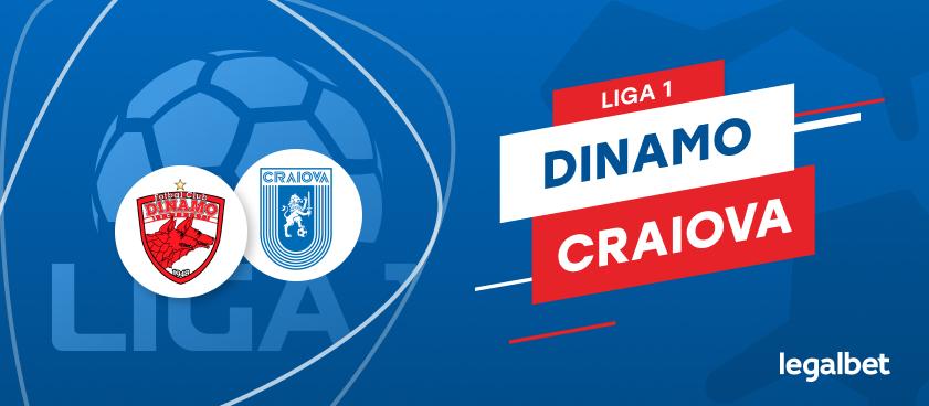 Dinamo Bucureşti - Universitatea Craiova: cote la pariuri şi statistici