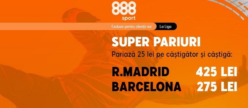 "Real Madrid vs Barça: Cote mărite de 17.00, respectiv 11.00 pentru ""El Clásico"""