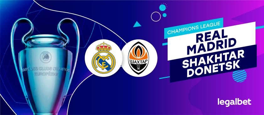 Apuestas y cuotas Real Madrid - Shakhtar Donetsk, Champions League 2020