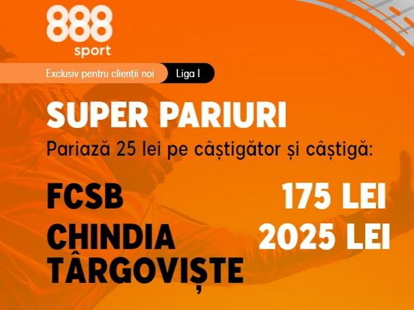 legalbet.ro: Chindia Târgovişte are cota 81.00 la 888 Sport pentru o victorie cu FCSB!.