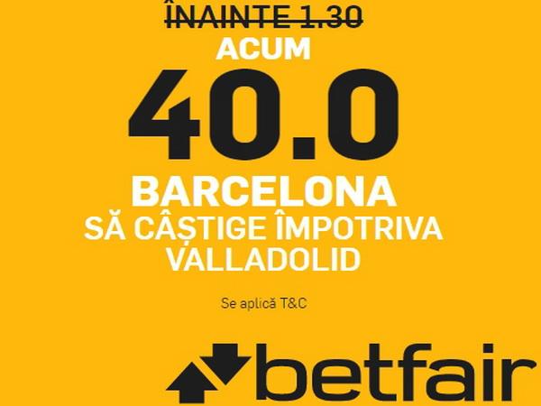 legalbet.ro: FC Barcelona are cota 40.00 pe Betfair să o bată pe Real Valladolid.