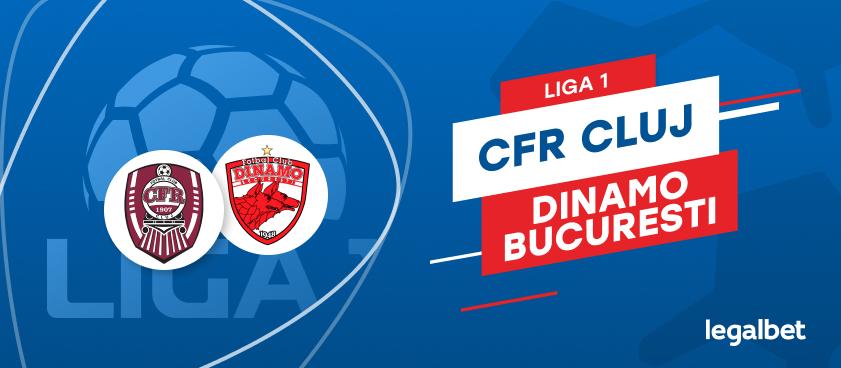 CFR Cluj - Dinamo Bucureşti: cote la pariuri şi statistici