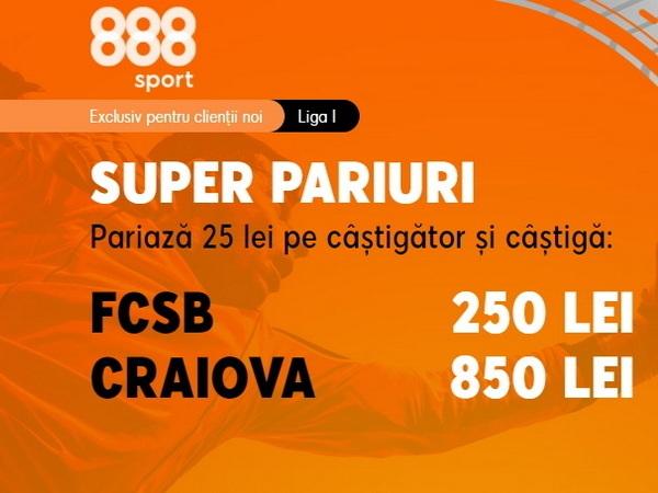 legalbet.ro: Pariază pe FCSB - U Craiova şi prinde super cotele din promoţia 888 Sport!.
