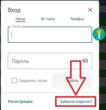 Ссылка «Забыли пароль?»