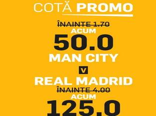 legalbet.ro: Vezi 3 cote beton la ManCity vs Real Madrid şi Barça vs Napoli.