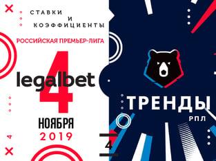 Legalbet.ru: Засушливый праздник: ставки по трендам на матчи РПЛ 4 ноября.