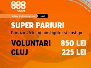legalbet.ro: Ia-ţi cotele incitante de la 888 Sport din meciul FC Voluntari - CFR Cluj.